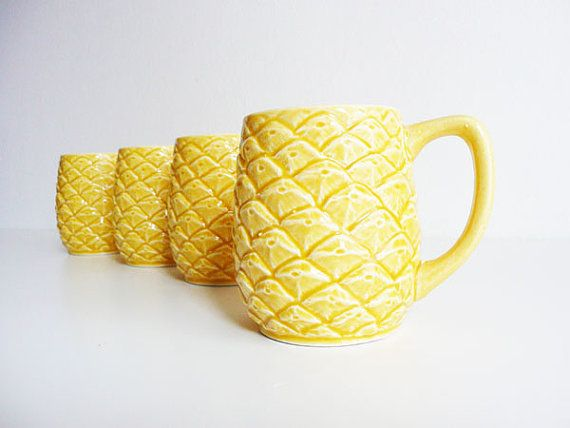 Vintage Pineapple Mugs Textured Ceramic Mugs by kissavintagedesign, $34.00
