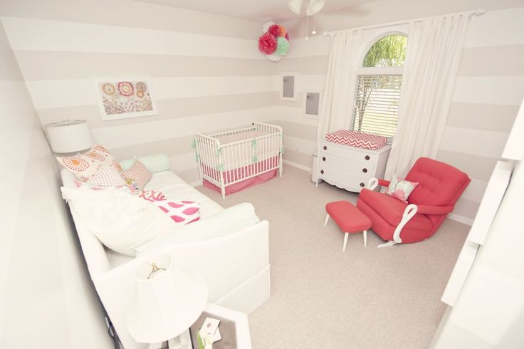Gray and White Striped Nursery with coral pops of color: Stripes Wall, Girl Nurseries, Colors, Baby Girls, Baby Rooms, Girls Nurseries, Girls Rooms, Kids Rooms, Gray Nurseries