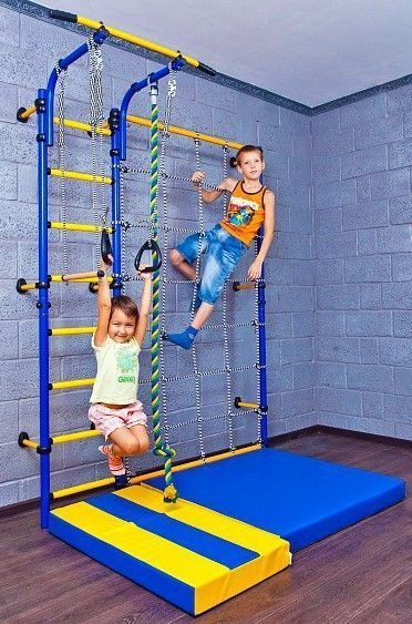 Kids Playground with a Cargo Net Climbing Wall. Indoor Sport Training Gym Set. - Swings, Slides & Gyms
