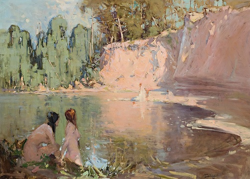 Bathers (1916)    William Beckworth McInnes (St Kilda, Melbourne, May 18, 1889 - Melbourne, November 9, 1939) was an Australian portrait painter. McInnes had suffered from an imperfect heart all his life, his general health became affected and in July 1939 he resigned his position as master of the the National Gallery of Victoria School of Painting. He married Violet Muriel Musgrave in 1915, a capable flower painter, who survived him with four sons and two daughters.