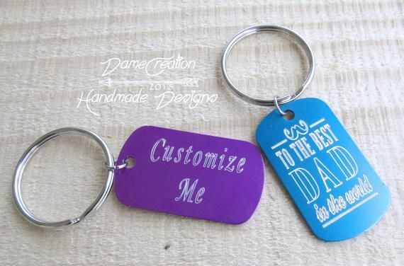 Dog Tag Keychain Custom Keychain Personalized Keychain Etsy