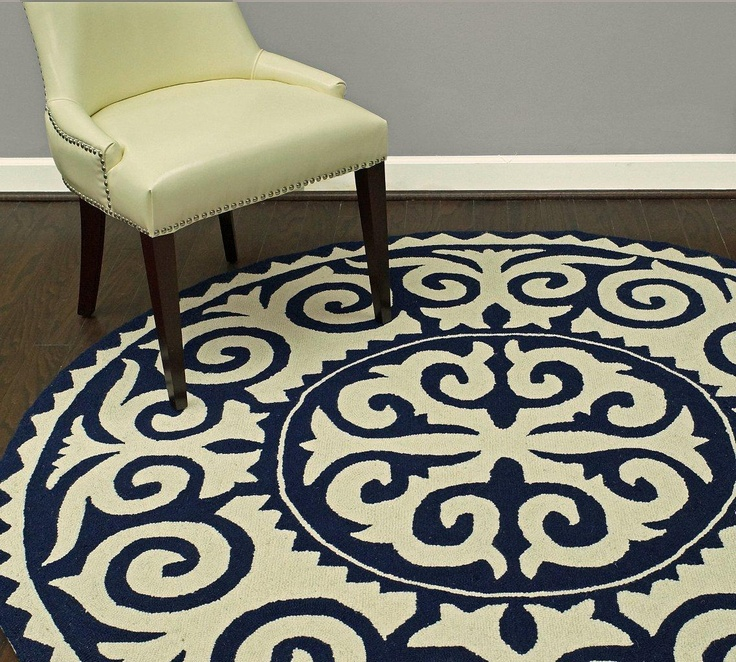 Rugs USA Homespun Damask Trellis Navy Blue Rug. Love
