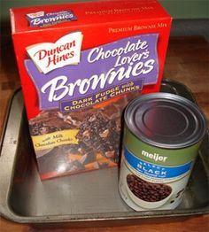 box of brownie mix + can of black beans = Black Bean Brownies
