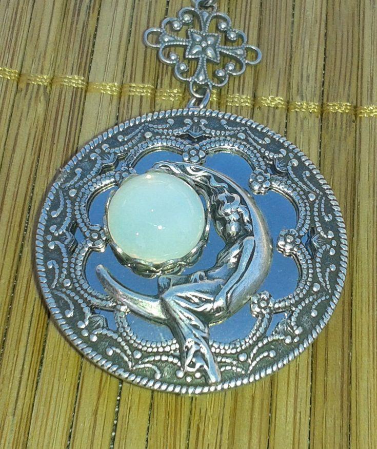 Moon Goddess Selene (aka Luna) silver locket with vintage glass moon stone - by Angellesque on Etsy https://www.etsy.com/au/listing/242583657/moon-goddess-selene-aka-luna-silver