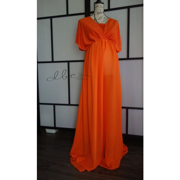 Orange Maternity Dress ($85) ❤ liked on Polyvore featuring maternity, black, dresses and women's clothing