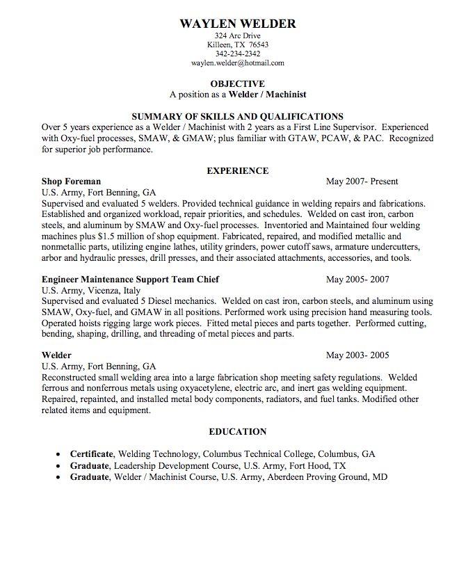 Tank Welder Sample Resume