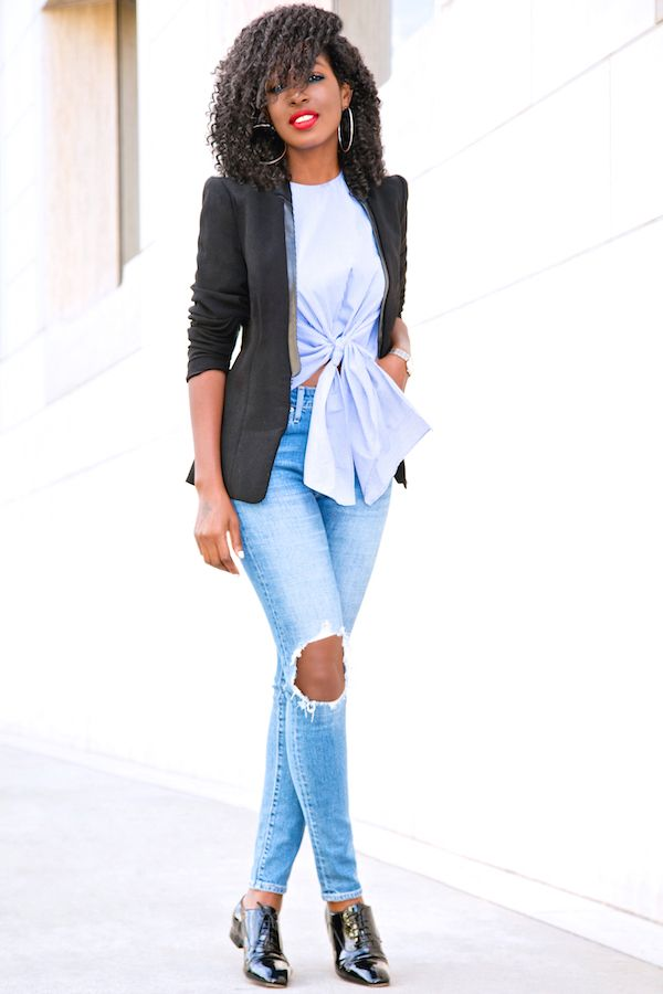 Structured Blazer + Tie Front Top + Distressed Jeans