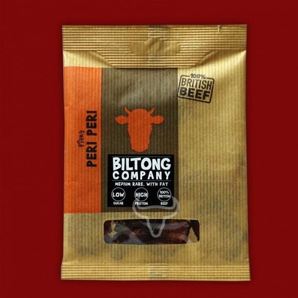 Peri Peri Biltong - 35g Bag - Made Using 100% British Grass-Fed Beef by The Chichester Biltong Company on Gourmly