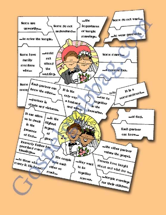 "$0.50 - MARRIAGE - Eternal Marriage: LDS Lesson Activity - Eternal Marriage quiz/puzzle - ""Why are temple ordinances important?"", gospelgrab..."