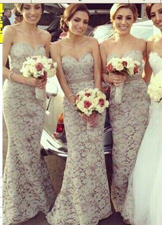 Lace long dresses bridesmaid
