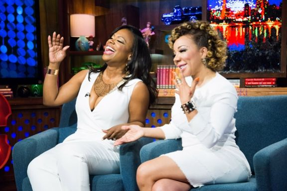 Nosee Rosee: Kandi Burruss and Tameka 'Tiny' Harris Stop By 'Watch What Happens Live' #WWHL #RHOA