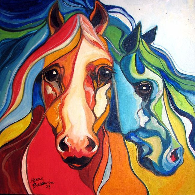 colorful horses art | Favorite art of Marcia Baldwin Currently viewing WIND EQUINE ABSTRACT ...