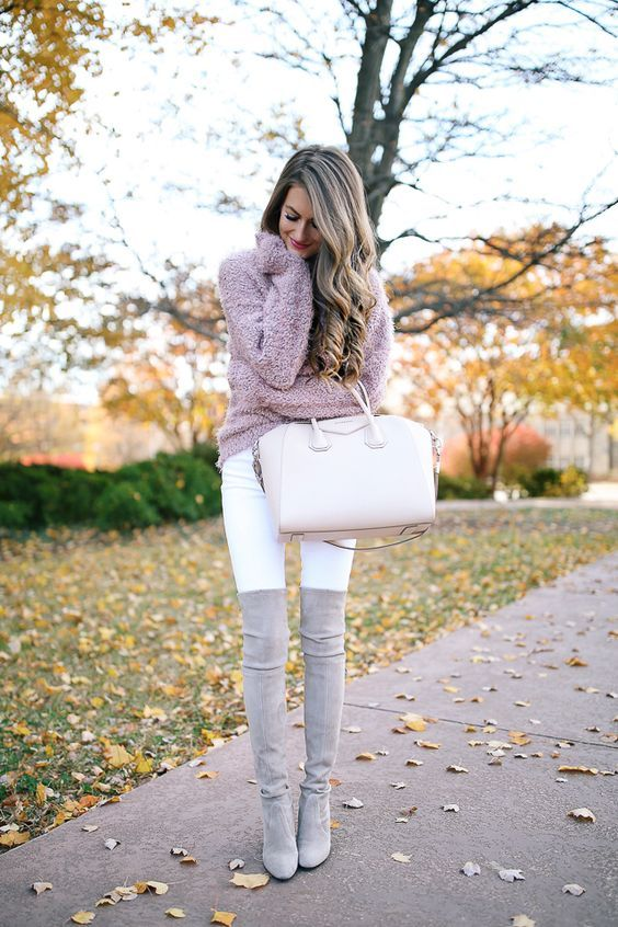 Philanthropy outfit for rush...cozy pink knit sweater, white jeans and gray over the knee boots (either flat boots or with a heel if you like).