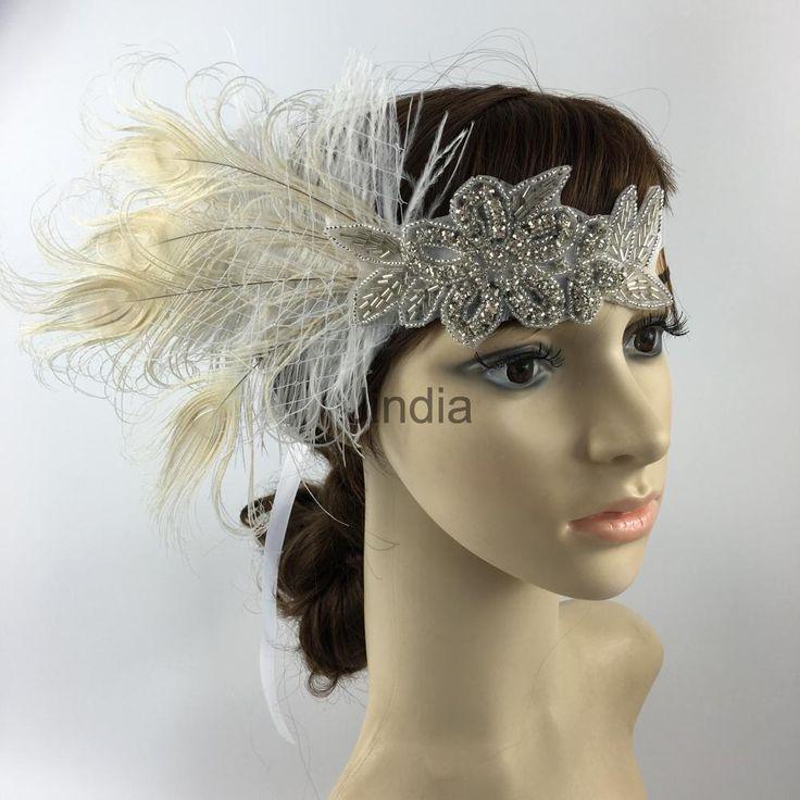 Wedding Fancy Dress Feather Rhinestone Hairband Headband 1920 S Headpiece
