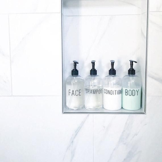 Shampoo Conditioner Calligraphy Clear Soap Dispenser Set Etsy Soap Dispenser Shower Soap Dispenser Bathroom Gadgets