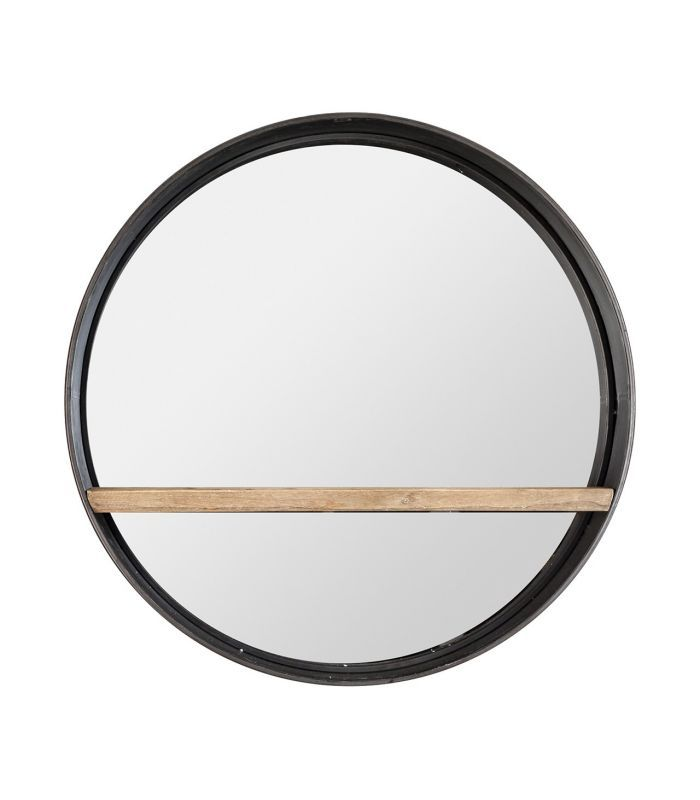 Espelho redonda de metal detalhe de madeira