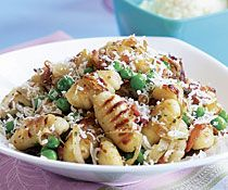 Pan-Fried Gnocchi with Bacon, Onions, & Peas