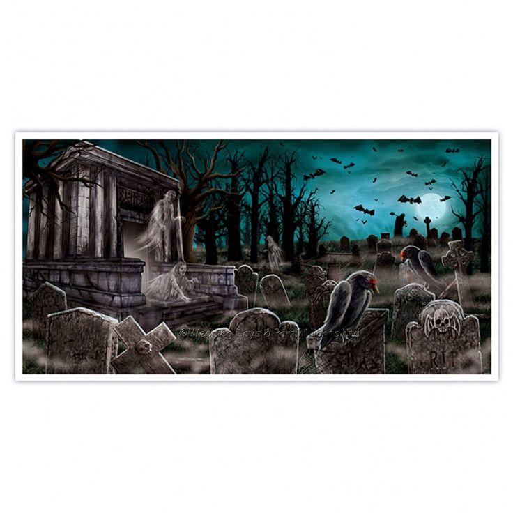 "Giant 5ft long 'Haunted Graveyard' Halloween horror scene setter / wall banner. Suitable for indoor or outdoor use. Size: 1.65m x 85cm / 64"" x 33"". 