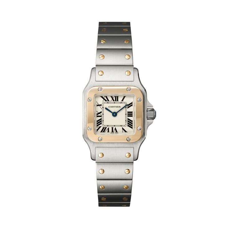 """Cartier SANTOS DE CARTIER """"GALBÉE"""" WATCH, SMALL MODEL Quartz, yellow gold, steel, $6,800 = KD1,924"""