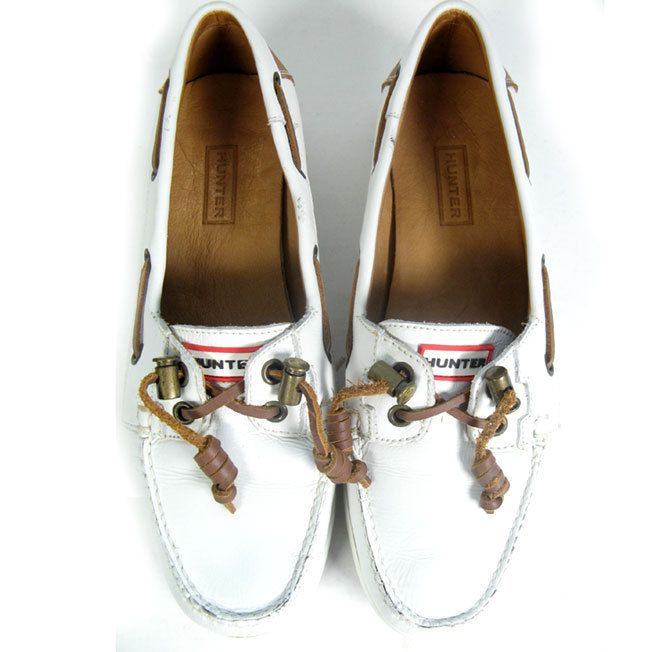 $207 HUNTER Boat Shoes Sz 7.5  White Leather Boat Shoes *EXCELLENT* Size 7.5 #Hunter #BoatShoes…