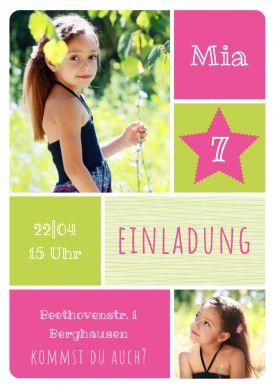 Fröhliche Einladungskarte mit Fotos zum Geburtstag für Mädchen, die 7 Jahre werden!  #Grün #Rosa  #Fotos #birthday #Geburtstag#Einladung #einladunggeburtstag.de