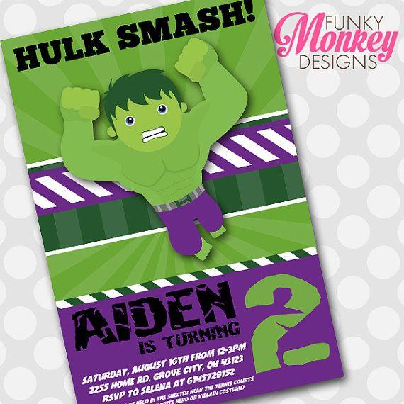 "Diy Incredible Hulk Avengers Boy's Birthday Party Digital Printable 4""x6"" Invitation"