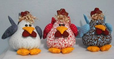 Panos e Contas - artesanatos em tecido: Galinhas gordinhas