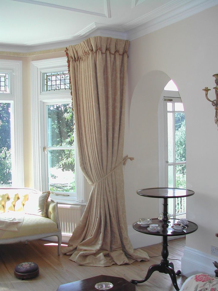 Curtain idea for Bay Window - very full - triple pleat - spilling onto the floor - tied back
