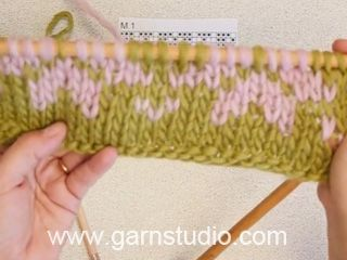 In this video we are following a chart back and forth on needles, knitting with two colors. The color that not is knitted is following behind the work when...