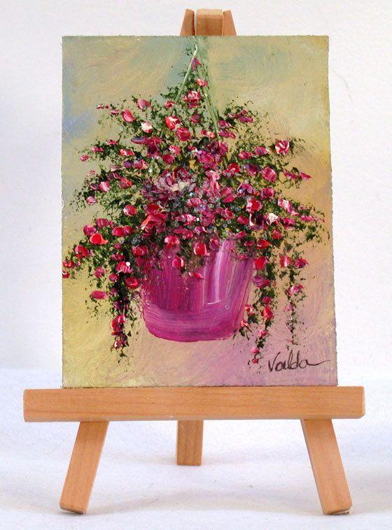 Colgante flor cesta 3 x 4 pulgadas pintura al por valdasfineart