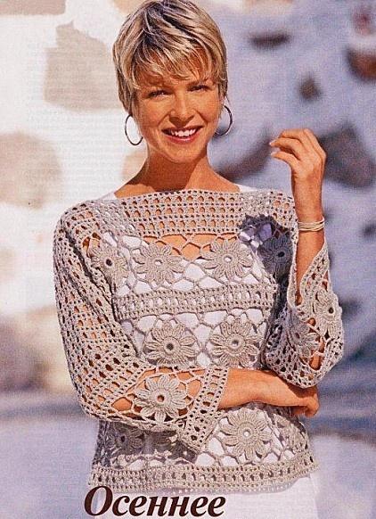 Ecru Boatneck Long Sleeve Openwork Top free crochet graph pattern