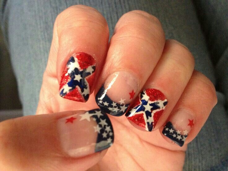 Cute rebel flag nails