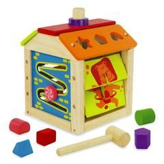I'm Toy Busy House  A multi-functional educational toy featuring a clock, picture matching, shape sorter, block hammering, an abacus and a slider.  Produced from sustainable rubberwood and non toxic paints and lacquers.