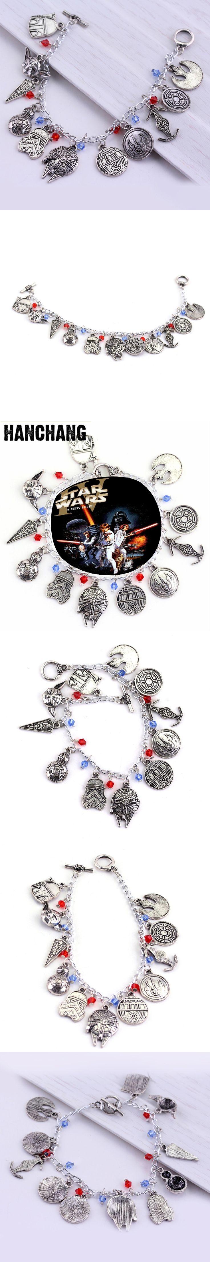 Movie Star Wars Series Charm Bracelets Jewelry BB8 Robot Darth Vader Stormtrooper Pendants Bracelet Female Cosplay A Bracelet