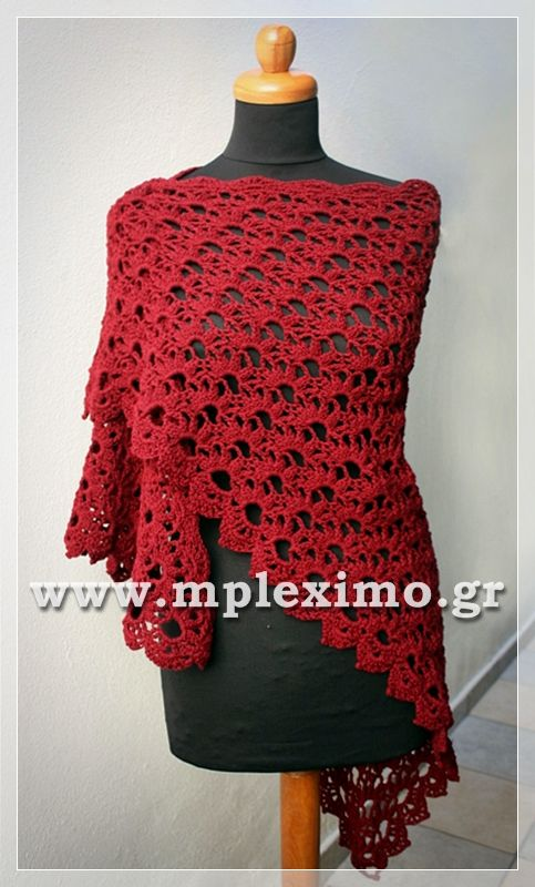 triangle red shawl crochet
