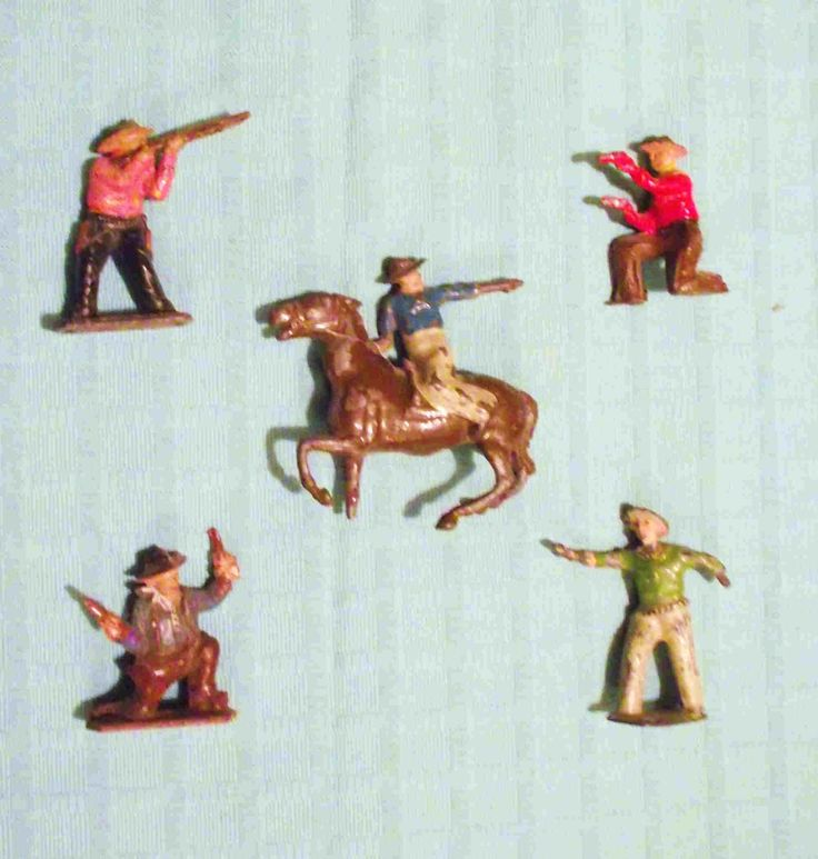 A quincunx of shooting cowboys