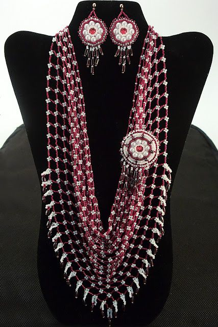 Red and white beaded kerchief made from Japanese beads and natural garnets  with detachable bead embroidery brooch and earrings.