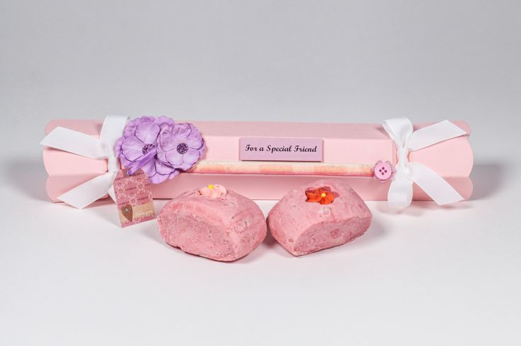 Pale Pink Celebration Crackers with custom decoration, perfect for soap gift packaging!