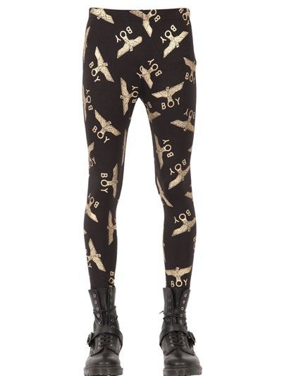 BOY LONDON BOY LOGO COTTON LEGGINGS, BLACK/GOLD. #boylondon #cloth #pants