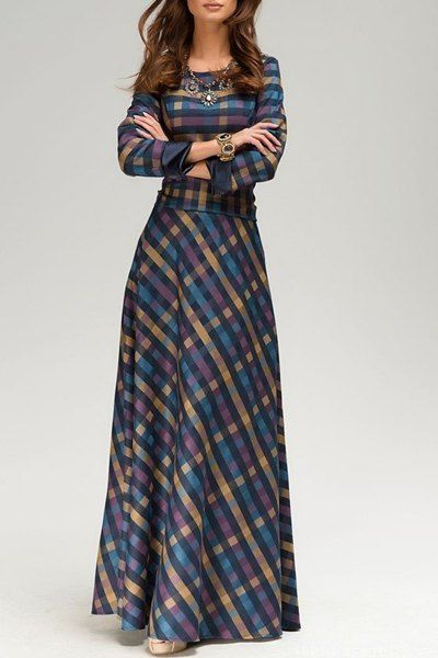 Vintage Scoop Neck Long Sleeve Plaid Prom Maxi Dress For Women