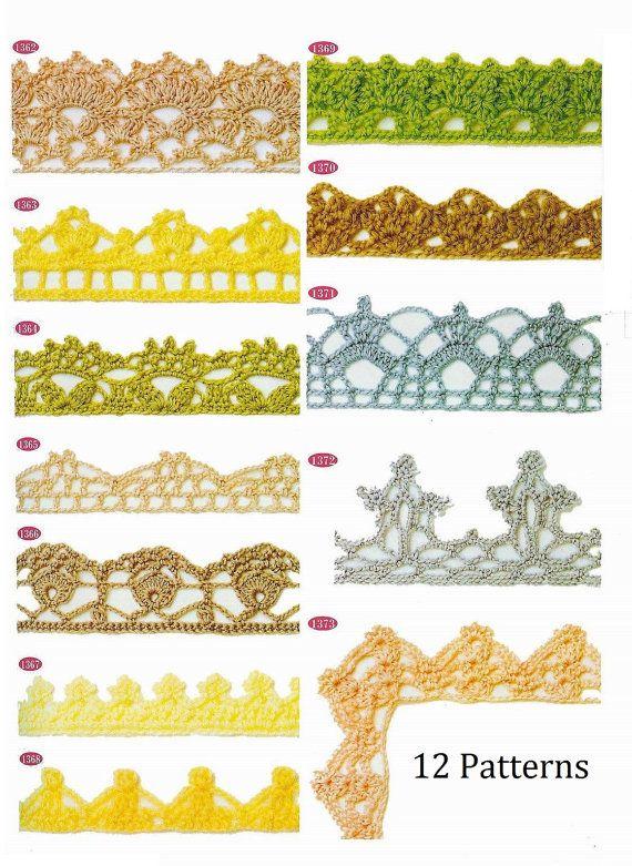 Gehäkelte trim Muster 12 Stück Spitze Kante sofortigen Download JPG