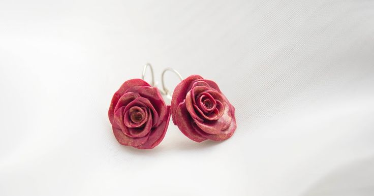 polymer clay earrings roses