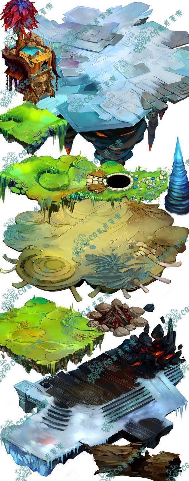 382 游戏美术资源 Q版可爱风格UI ...@good~猫宁采集到游戏原画Q版写实角色横版地图日韩中国风(217图)_花瓣游戏