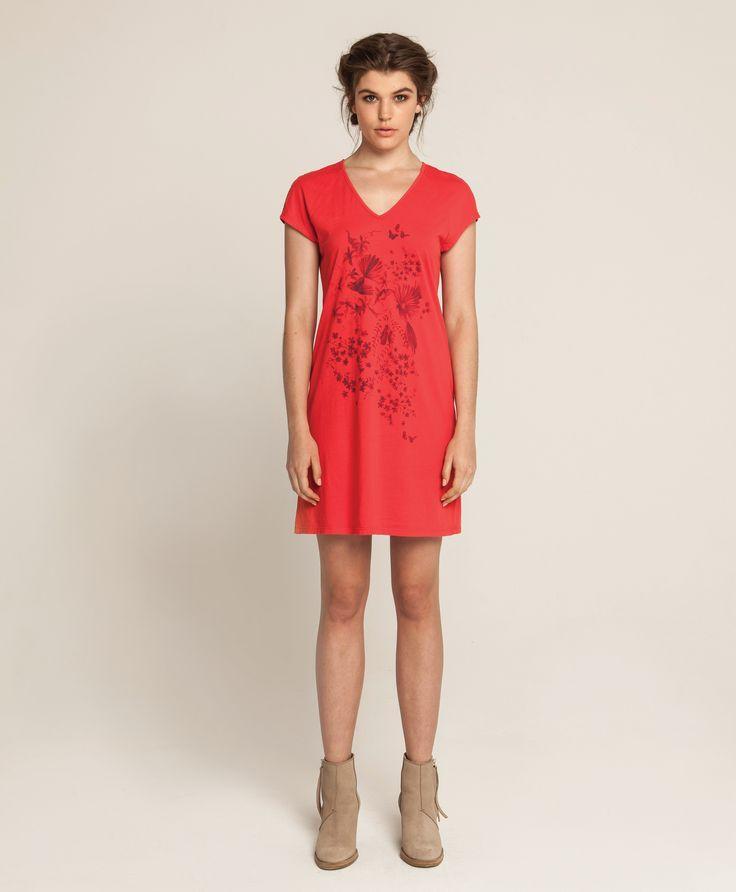 Raglan T Dress - Piwakawaka - Red