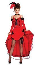 Ladies Red Saloon Girl Can Can Burlesque Wild West Fancy Dress Costume Outfit