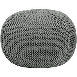 Urban Shop Round Knit Pouf, Home Décor, Living or Bedroom Furniture, Contemporary Style, Polyester, Gray