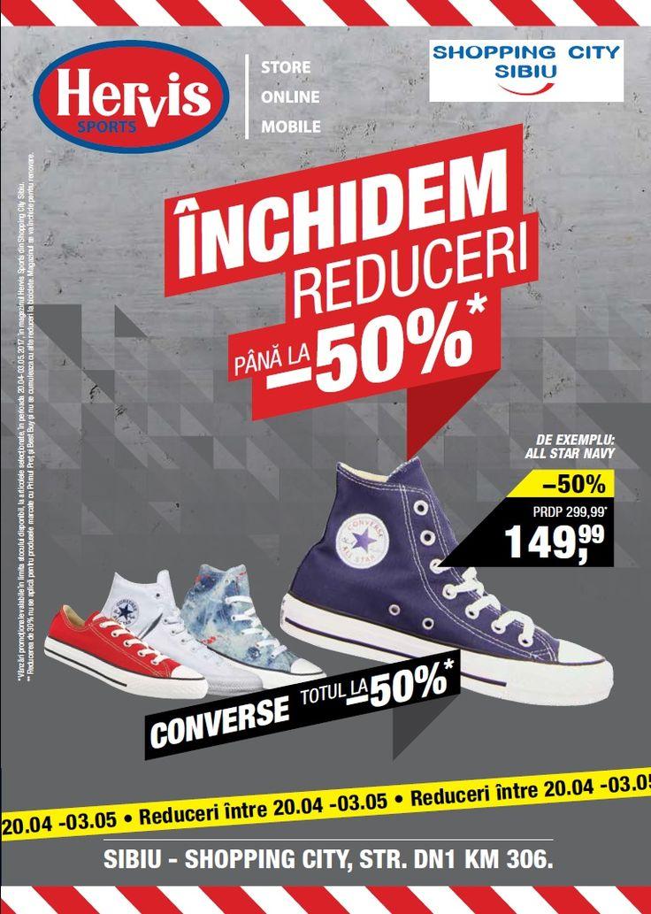 Catalog Hervis Sports Inchidem cu reduceri de pana la -50% in Shopping City Sibiu perioada 20 Aprilie - 03 Mai 2017! Oferte: converse All Star Navy