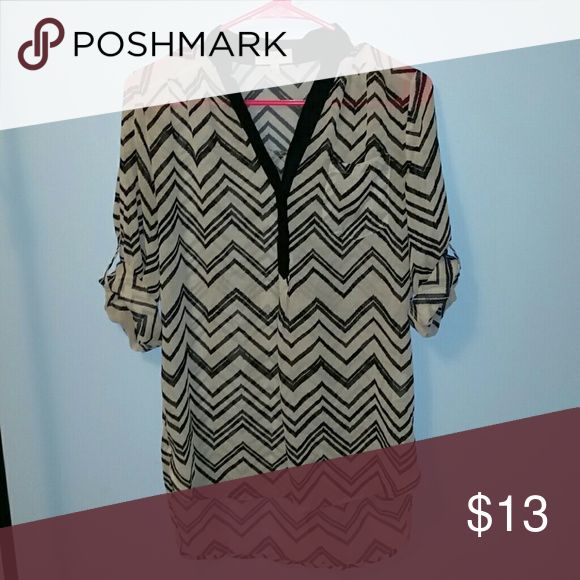Selling this Sheer long sleeve aztec blouse on Poshmark! My username is: jbussey7. #shopmycloset #poshmark #fashion #shopping #style #forsale #My Michelle #Tops