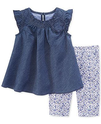 First Impressions Baby Girls' 2-Piece Denim Tunic & Leggings Set - Kids Sets & Outfits - Macy's