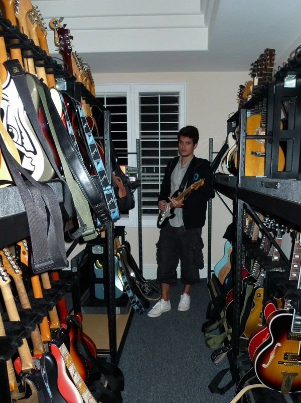 John Mayer's Collection and Closet Rack of Guitars